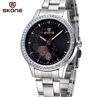 Newest Rhinestone Women Steel Watch Quartz Wristwatches Flower Brand Fashion Business Watch Women Watch Luxury Clock