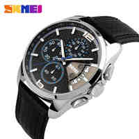 SKMEI Men Chronograph Watch Men Sport Watch Leather Quartz-Watch Waterproof Clock Date Men's Wrist Watch relogio masculino
