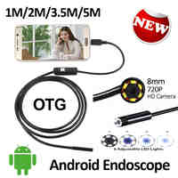 2MP 8mm Android USB Endoscope Camera 1M 2M 3.5M 5M HD720P Flexible Snake USB Inspection Android Borescope Camera Waterproof 6LED