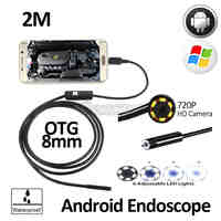 2MP 8mm HD720P Android OTG USB Endoscope Camera 2M Flexible Snake USB Android Phone Waterproof Inspection Borescope Camera 6LED