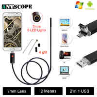 Antscope USB Android Endoscope Camera Inspection 2M Android Borescope 7MM Lens 6 Led lights PC USB Endoskop Camera