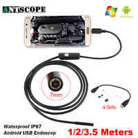 7mm USB Android Endoscope Camera 1/2/3.5m Snake Tube Inspection Computer Android Phones Endoscopic Borescope USB Endoskop Camera