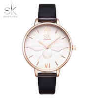 Shengke Fashion Women Watch Luxury Brand Leather Strap Watch Women Dress Watch Casual Quartz Watch Reloj Mujer Wristwatch Girl