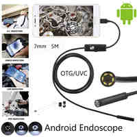 JCWHCAM 7mm Lens Android OTG USB Endoscope Camera 1M 2M 3.5M 5M Waterproof Snake USB Pipe Inspection Android Borescope Camera