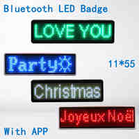 Bluetooth LED Badge mini LED display scrolling led dot matrix 11*55 wide LED trademark for staff waiter hotel driver