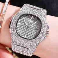 Golden Tricolor Quartz Watch Square Square Star Suit Steel Belt Watch Water Drill Calendar Watch Lady Watch