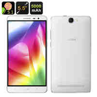 iNew L4 Android Smartphone - 5.5 Inch Screen, Android 5.1, Quad Core CPU, 5000mAh Battery, Power Bank, 13MP Camera (White)