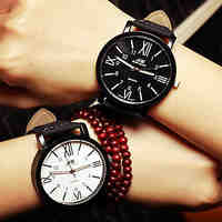 Couple's Wrist Watch Watches Men Roman Numerals Woman Watch Simple Students Watch
