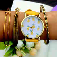 Tropical Fruit Pineapple Watch Vintage Style Leather Watch Women Watches Boyfriend Watch