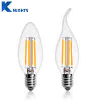 LED Filament Bulb E14 Candle Light Bulb 2W 4W 6W Edison Bulb C35 220V Retro Antique Vintage Style Cold Warm White LED Glass Bulb