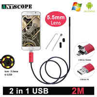 Antscope 5.5mm Lens Android Endoscope HD USB Android Endoscopic Mini Camera Inspection Android 2M Borescope USB Endoskop Camera