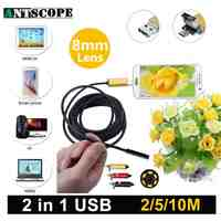 Antscope 8mm USB Android Endoscope Camera 2m/5m/10m PC And Android Phones Borescope Camera Snake Tube Endoscopic